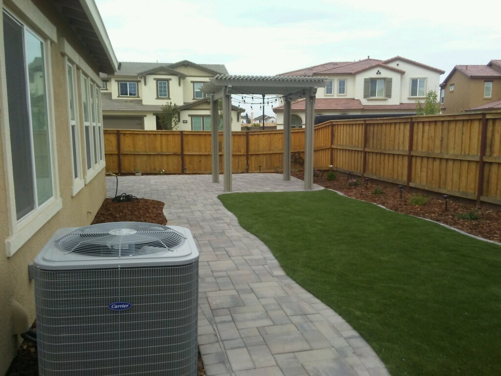 Paver Patio, Paver Walkway, Artificial Grass | Apostle ... on Turf Patio Ideas id=15958